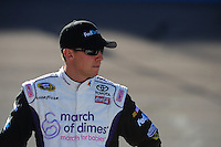Apr 17, 2009; Avondale, AZ, USA; NASCAR Sprint Cup Series driver Denny Hamlin during qualifying for the Subway Fresh Fit 500 at Phoenix International Raceway. Mandatory Credit: Mark J. Rebilas-