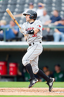 Brendan Harris #32 of the Rochester Red Wings follows through on his swing against the Charlotte Knights at Knights Stadium August 1, 2010, in Fort Mill, South Carolina.  Photo by Brian Westerholt / Four Seam Images