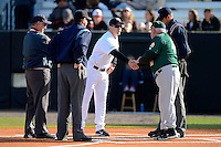 Siena Saints head coach Tony Rossi #40 shakes hands with Ryan Klosterman #7 before a game against the Central Florida Knights at Jay Bergman Field on February 16, 2013 in Orlando, Florida.  Siena defeated UCF 7-4.  (Mike Janes/Four Seam Images)