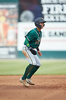 Ji-Hwan Bae (51) of the Greensboro Grasshoppers takes his lead off of second base against the Piedmont Boll Weevils at Kannapolis Intimidators Stadium on June 16, 2019 in Kannapolis, North Carolina. The Grasshoppers defeated the Boll Weevils 5-2. (Brian Westerholt/Four Seam Images)