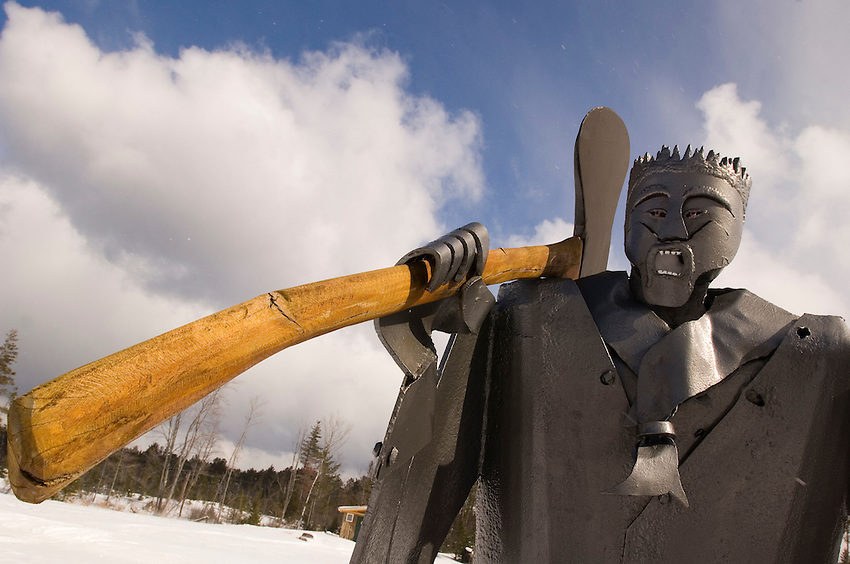 A sculpture of a lumberjack at Lakenenland sculpture park near Marquette Michigan.