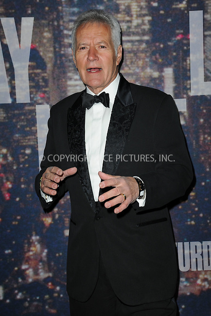 WWW.ACEPIXS.COM<br /> February 15, 2015 New York City<br /> <br /> Alex Trebek walking the red carpet at the SNL 40th Anniversary Special at 30 Rockefeller Plaza on February 15, 2015 in New York City.<br /> <br /> Please byline: Kristin Callahan/AcePictures<br /> <br /> ACEPIXS.COM<br /> <br /> Tel: (646) 769 0430<br /> e-mail: info@acepixs.com<br /> web: http://www.acepixs.com