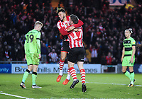 Lincoln City's Kellan Gordon celebrates scoring his side's second goal with Shay McCartan<br /> <br /> Photographer Andrew Vaughan/CameraSport<br /> <br /> The EFL Sky Bet League Two - Lincoln City v Forest Green Rovers - Saturday 3rd November 2018 - Sincil Bank - Lincoln<br /> <br /> World Copyright &copy; 2018 CameraSport. All rights reserved. 43 Linden Ave. Countesthorpe. Leicester. England. LE8 5PG - Tel: +44 (0) 116 277 4147 - admin@camerasport.com - www.camerasport.com