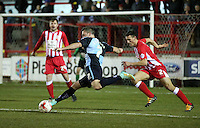 Garry Thompson of Wycombe Wanderers shoots<br /> <br /> during the Sky Bet League 2 match between Accrington Stanley and Wycombe Wanderers at the Wham Stadium, Accrington, England on 16 March 2016. Photo by Tony (KIPAX) Greenwood / PRiME Media Images.