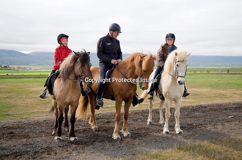 Horseback Riders on Icelandic Horses at Flugumyri Horse Farm in North Iceland