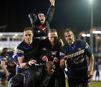 Kahn Fotuali'i, James Wilson, Max Lahiff, Michael van Vuuren and Beno Obano of Bath Rugby pose for a photo after the match. Anglo-Welsh Cup Semi Final, between Bath Rugby and Northampton Saints on March 9, 2018 at the Recreation Ground in Bath, England. Photo by: Patrick Khachfe / Onside Images
