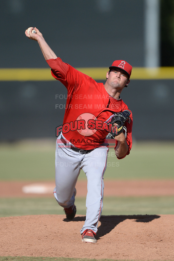 Los Angeles Angels pitcher Garrett Nuss (37) during an Instructional League game against the Milwaukee Brewers on October 11, 2013 at Tempe Diablo Stadium Complex in Tempe, Arizona.  (Mike Janes/Four Seam Images)