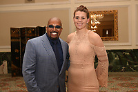 Leonard Ellerbe with Savannah Marshall during a Press Conference at the Landmark Hotel on 18th May 2017