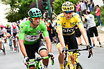 Green Jersey Michael Matthews (AUS) Team Sunweb and Yellow Jersey Chris Froome (GBR) Team Sky at the start of Stage 21 of the 104th edition of the Tour de France 2017, an individual time trial running 1.3km from Montgeron to Paris Champs-Elysees, France. 23rd July 2017.<br /> Picture: ASO/Alex Broadway | Cyclefile<br /> <br /> <br /> All photos usage must carry mandatory copyright credit (&copy; Cyclefile | ASO/Alex Broadway)