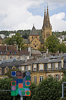 Europe/Suisse/Jura Suisse/ Neuchatel: les Toits de la vieille ville et la collégiale