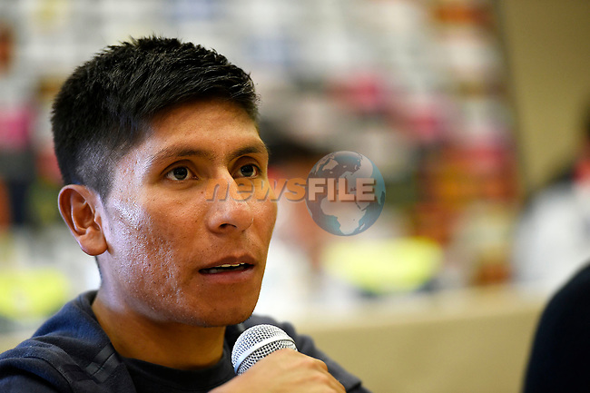 Nairo Quintana (COL) Movistar Team at the top riders press conference on the eve of the race of the two seas, 52nd Tirreno-Adriatico by NamedSport running from the 8th to 14th March, Italy. 7th March 2017.<br /> Picture: La Presse/Fabio Ferrari | Cyclefile<br /> <br /> <br /> All photos usage must carry mandatory copyright credit (&copy; Cyclefile | La Presse)