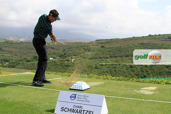 Charl Schwartzel (RSA) in action on the practice range during Day 1 of the Volvo World Match Play Championship in Finca Cortesin, Casares, Spain, 19th May 2011. (Photo Eoin Clarke/Golffile 2011)