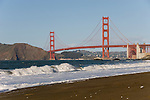 San Francisco: Baker Beach with Golden Gate Bridge in background.  Photo # 2-casanf76429.  Photo copyright Lee Foster