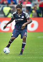 22 May 2010: New England Revolution midfielder Shalrie Joseph #21 in action during a game between the New England Revolution and Toronto FC at BMO Field in Toronto..Toronto FC won 1-0.....