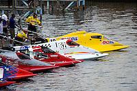 Terry Rinker (#10), Chris Fairchild (#62), Tim Seebold (#16), Brian Venton (#17) and Jose Mendana, Jr. (#21) on the start dock.   (Formula 1/F1/Champ class)