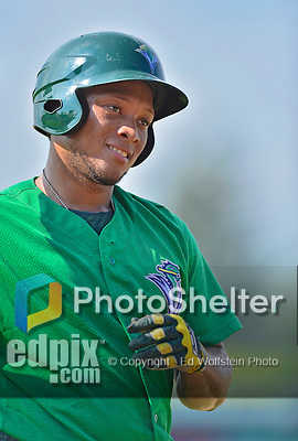 17 July 2013: Vermont Lake Monsters catcher Reynaldo Mateo warms up prior to a game against the Aberdeen Ironbirds at Centennial Field in Burlington, Vermont. The Lake Monsters fell to the Ironbirds 5-1 in NY Penn League action. Mandatory Credit: Ed Wolfstein Photo
