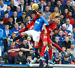 15.08.2019 Rangers v FC Midtjylland: Jon Flanagan with an elbow in the face from Sory Kaba and Mikael Anderson