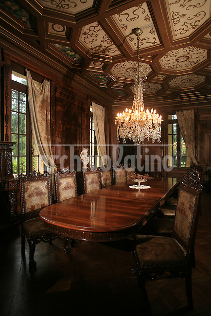 Estancia La Candelaria in Lobos, Argentina..Dining room and the ceiling