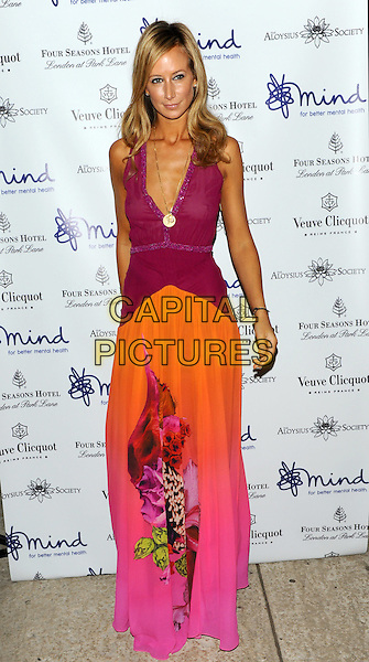 Lady Victoria Hervey.'Mindful' gala exhibition and gala dinner to raise funds for the Mind creative therapies fund, Imperial War Museum, London, England..September 21st, 2011.full length pink purple dress orange sleeveless low cut neckline floral print .CAP/CJ.©Chris Joseph/Capital Pictures.