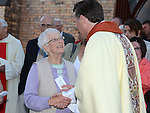 Margaret Finlay Bettystown congratulates Fr. Denis McNelis on the 25th anniversary of his ordination to the priesthood. Photo:Colin Bell/pressphotos.ie