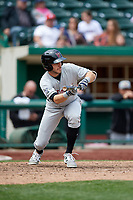 Wisconsin Timber Rattlers left fielder Caleb Whalen (7) squares around to bunt during a game against the Fort Wayne TinCaps on May 10, 2017 at Parkview Field in Fort Wayne, Indiana.  Fort Wayne defeated Wisconsin 3-2.  (Mike Janes/Four Seam Images)