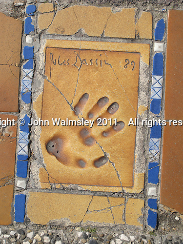 Hand print of the film director, Jules Dassin, outside the Palais des Festivals et des Congres, Cannes, France.