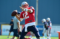 August 1, 2017: New England Patriots quarterback Tom Brady (12) throws a pass at the New England Patriots training camp held at Gillette Stadium, in Foxborough, Massachusetts. Eric Canha/CSM