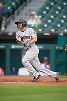 Scranton/Wilkes-Barre RailRiders Breyvic Valera (7) hits a double in the top of the third inning during an International League game against the Buffalo Bisons on June 5, 2019 at Sahlen Field in Buffalo, New York.  Scranton defeated Buffalo 3-0, the first game of a doubleheader.  (Mike Janes/Four Seam Images)