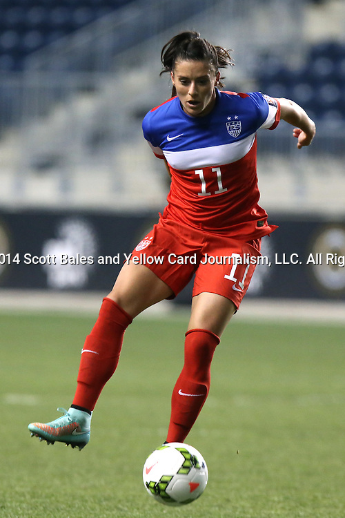26 October 2014: Ali Krieger (USA). The United States Women's National Team played the Costa Rica Women's National Team at PPL Park in Chester, Pennsylvania in the 2014 CONCACAF Women's Championship championship game. By advancing to the final, both teams have qualified for next year's Women's World Cup in Canada. The United States won the game 6-0.