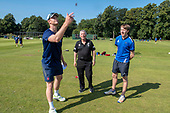 Cricket Scotland - the Citylets Scottish Cup Final between Carlton CC V Heriots CC at Meikleriggs, Paisley (Ferguslie CC) - Carlton capt Aly Evans makes the toss watched by his Heriots counterpart, Keith Morton - picture by Donald MacLeod - 25.08.19 - 07702 319 738 - clanmacleod@btinternet.com - www.donald-macleod.com