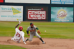 Tuesday, July 14, 2009.  Vancouver left fielder # 23 Rashun Dixon slides in to second base for a double and no outs in the sixth inning. The Vancouver Canadians went on to win the game against The Boise Hawks 3-2 at Nat Bailey Stadium in Vancouver.   Photo by Gus Curtis.
