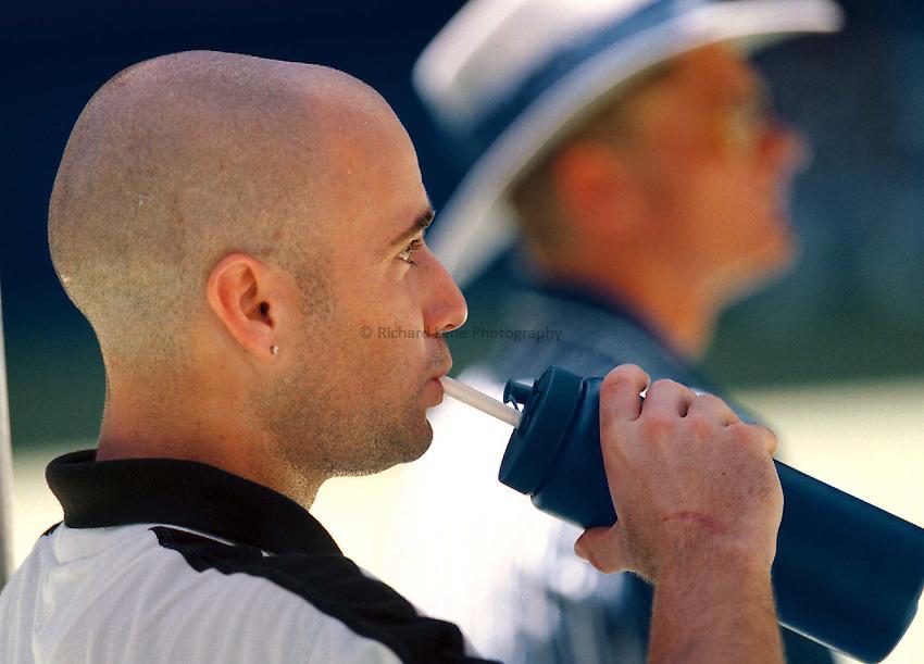 Photo. Abbey Wells.Austrailan Open, Melbourne, Austraila.1996.Andre Agassi