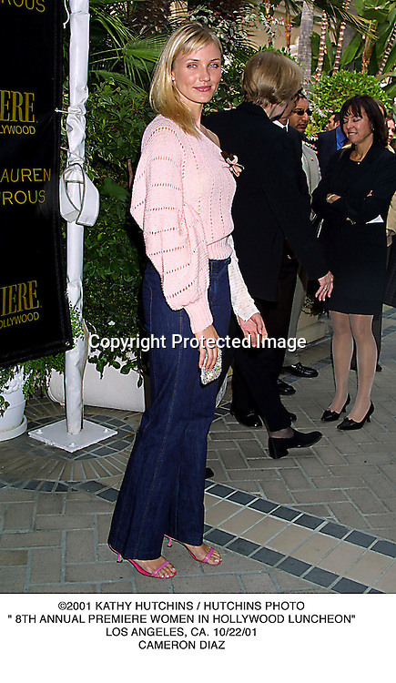 """©2001 KATHY HUTCHINS / HUTCHINS PHOTO."""" 8TH ANNUAL PREMIERE WOMEN IN HOLLYWOOD LUNCHEON"""".LOS ANGELES, CA. 10/22/01.CAMERON DIAZ"""