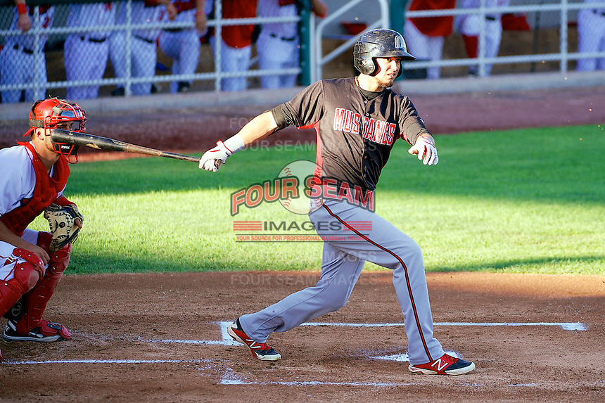 Argenis Aldazoro (11) of the Billings Mustangs at bat against the Orem Owlz in Pioneer League action at Home of the OWLZ on August 15, 2014 in Orem , Utah.  (Stephen Smith/Four Seam Images)