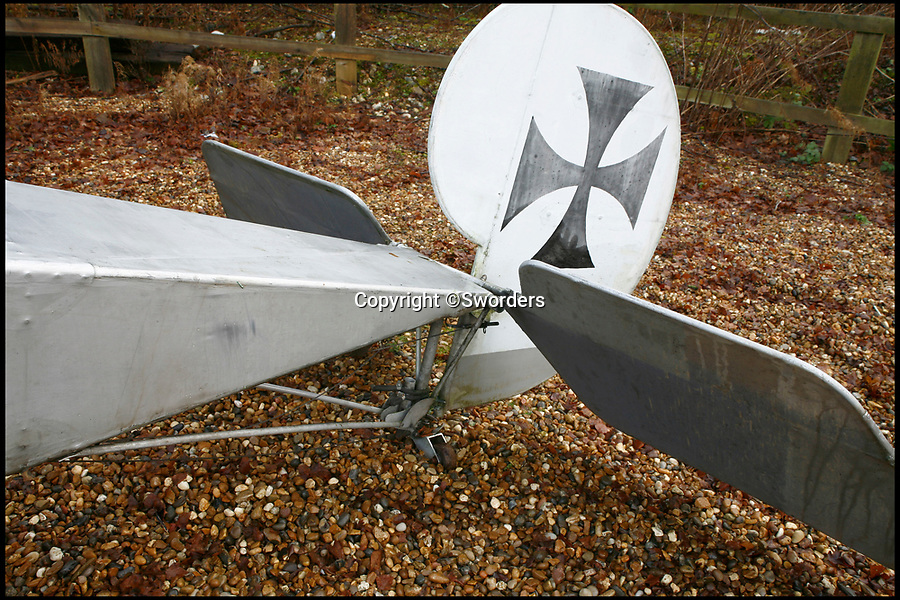 BNPS.co.uk (01202 558833)Pic: Sworders/BNPS<br /> <br /> A remarkable near life-size model of a German First World War plane which was built by an engineer in his back garden has emerged for sale.<br /> <br /> The silver and black Fokker Eindecker E111 has been fitted with a Reliant Robin engine and can be taxied, although it can not fly.<br /> <br /> Tragically, its creator Ian Brewster was killed in a light aircraft crash in a field in north Hertfordshire last June.<br /> <br /> The 17ft long plane with a 28ft wingspan is now being sold by his family.