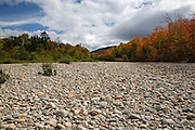 Riverbed of the Ammonoosuc River in Carroll, New Hampshire USA during the autumn months.