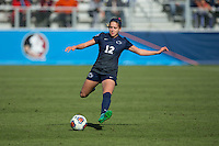 Cary, North Carolina - Sunday December 6, 2015: Charlotte Williams (12) of the Penn State Nittany Lions kicks the ball during first half action against the Duke Blue Devils at the 2015 NCAA Women's College Cup at WakeMed Soccer Park.  The Nittany Lions defeated the Blue Devils 1-0.