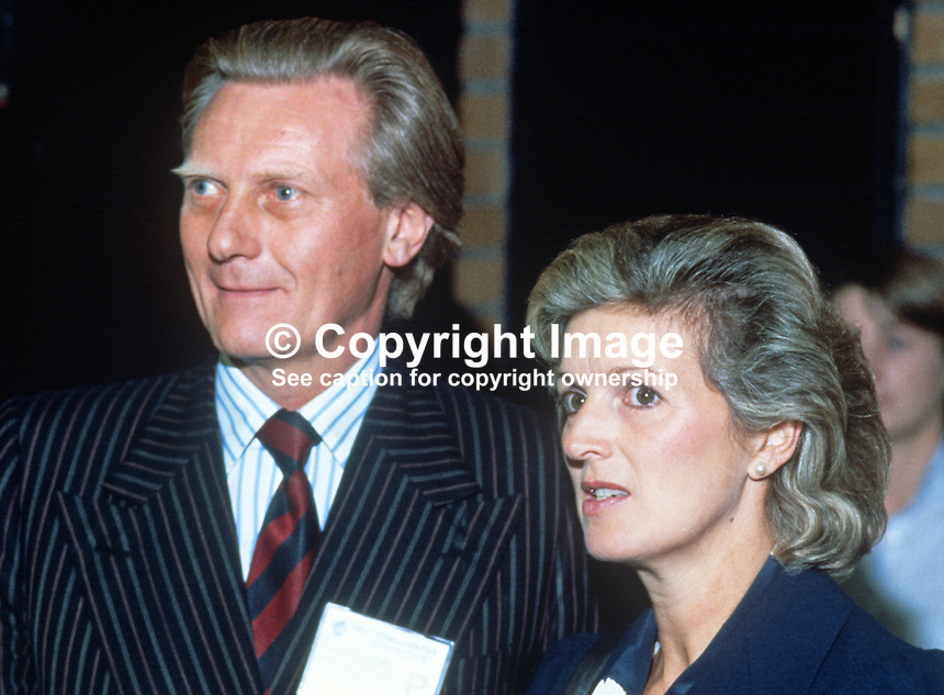 Michael Heseltine, MP, Secretary of State for Defence, Conservative Party, UK, with his wife, Ann, at his party's 1984 annual conference, Brighton, the year the adjacent Grand Hotel, was bombed by the Provisional IRA. The Grand Hotel was where most cabinet members and senior party officials were staying. 19840143MH4.<br />