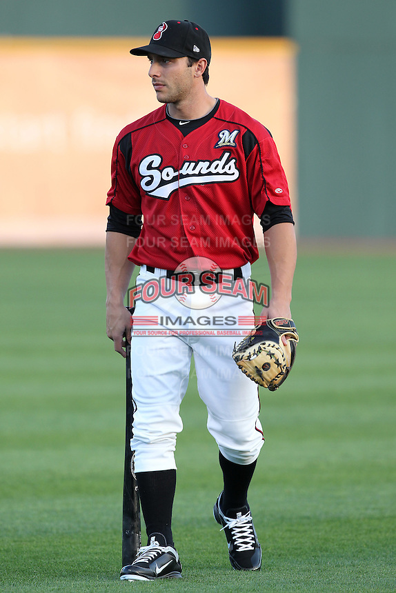 Nashville Sounds catcher George Kottaras #28 before a game against the Omaha Storm Chasers at Greer Stadium on April 25, 2011 in Nashville, Tennessee.  Omaha defeated Nashville 2-1.  Photo By Mike Janes/Four Seam Images