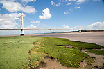 The old 1960s Severn bridge crossing between Beachley and Aust, Gloucestershire, England, UK looking east