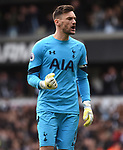 Hugo Lloris celebrates Tottenham's 2nd goal during the English Premier League match at the White Hart Lane Stadium, London. Picture date: April 15th, 2017.Pic credit should read: Chris Dean/Sportimage