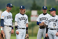 21 May 2009: Nicolas Dubaut, Luc Piquet, Sebastien Grimaud, David Gauthier, of Rouen, are seen during the 2009 challenge de France, a tournament with the best French baseball teams - all eight elite league clubs - to determine a spot in the European Cup next year, at Montpellier, France.