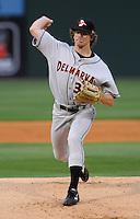 Starting pitcher Ryan Berry (39) of the Delmarva Shorebirds, Class A affiliate of the Baltimore Orioles, in a game against the Greenville Drive on Opening Day, April 8, 2010, at Fluor Field at the West End in Greenville, S.C. Photo by: Tom Priddy/Four Seam Images