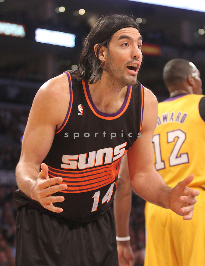 Phoenix Suns Luis Scola (14) during a game against the LA Lakers on February 12, 2013 at the Staples Center in Los Angeles, CA. The Lakers beat the Suns 91-85