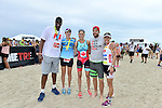 MIAMI BEACH, FLORIDA - APRIL 03: Jason Collins, Guest, Jenny Fletcher, Geoff Stults and Lisa Roberts participates in Life Time South Beach Triathlon benefiting the St. Jude Children Hospital at Lummus Park on Sunday April 3, 2016 in Miami Beach, Florida. ( Photo by Johnny Louis / jlnphotography.com )