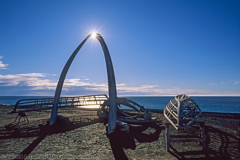 Bowhead whale bone arches and umiak (whale boat) skeletons, Arctic ocean beach, Utqiagvik (Barrow), Alaska
