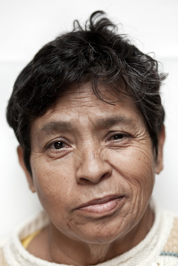 Portrait of Norma, a resident of Casa Xochiquetzal, at the shelter in Mexico City on Septemer 14, 2010. Casa Xochiquetzal is a shelter for elderly sex workers in Mexico City. It gives the women refuge, food, health services, a space to learn about their human rights and courses to help them rediscover their self-confidence and deal with traumatic aspects of their lives. Casa Xochiquetzal provides a space to age with dignity for a group of vulnerable women who are often invisible to society at large. It is the only such shelter existing in Latin America. Photo by Bénédicte Desrus