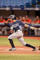 Tampa Bay Rays outfielder Spencer Edwards (9) during an Instructional League game against the Boston Red Sox on September 25, 2014 at Tropicana Field in St. Petersburg, Florida.  (Mike Janes/Four Seam Images)
