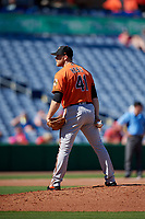 Baltimore Orioles relief pitcher David Hess (41) looks in for the sign during a Grapefruit League Spring Training game against the Philadelphia Phillies on February 28, 2019 at Spectrum Field in Clearwater, Florida.  Orioles tied the Phillies 5-5.  (Mike Janes/Four Seam Images)