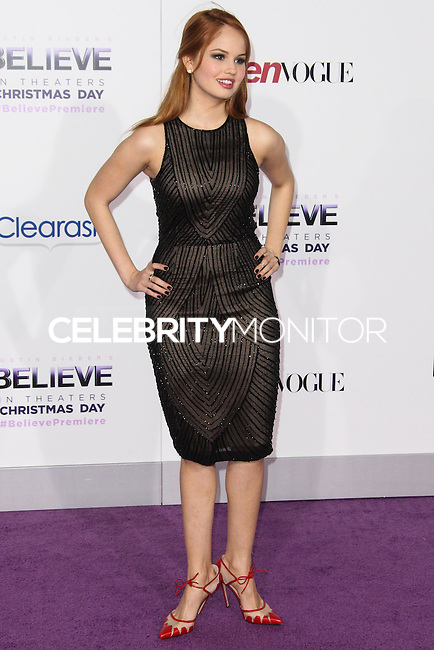 "LOS ANGELES, CA - DECEMBER 18: Actress Debby Ryan arrives at the World Premiere Of Open Road Films' ""Justin Bieber's Believe"" held at Regal Cinemas L.A. Live on December 18, 2013 in Los Angeles, California. (Photo by Xavier Collin/Celebrity Monitor)"